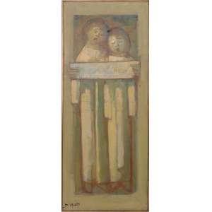 Dario Mecatti - Crianças, óleo sobre tela, 100 x 40 cm, sem data, assinado no canto inferior esquerdo
