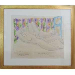 Di Cavalcanti - Duas mulheres, mista sobre papel, 46 x 56 cm, localizado e datado 1960 no canto inferior esquerdo, assinado no canto inferior direito