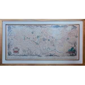 Alberto da Veiga Guignard - Mapa de Ouro Preto - Vista de Itacolomi, mista sobre papel, 69 x 145 cm, assinado e datado 1946 no canto inferior direito.