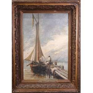 Antonio Parreiras - sem título - fase Veneza- Barco, óleo sobre tela, 39 x 27 cm, 1889, assinado no canto inferior esquerdo.