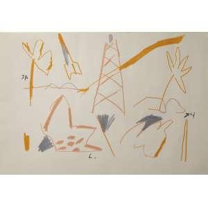 Leonilson - sem título, lápis de cor sobre papel, 33 x 48 cm, assinado no centro inferior, datado 1984 no canto inferior direito, reproduzido no Catálogo Raisonée do artista sob número PL.2980.0/00.