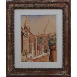 Antonio Gomide - Rue de Lábrevoir - Montmartre, aquarela sobre papel, 31 x 24 cm, início déc. 1920, assinado no canto inferior esquerdo.