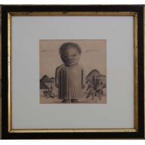 Cândido Portinari - Menina na praia, grafite sobre papel, 21,5 x 22,5 cm, assinado e datado 1935 no canto inferior direito. Reproduzido no Catálogo Raisonée do artista à pg. 320 do volume I, sob número 545 [FCO 3323]