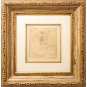 Ismael Nery - Bailarinos, aquarela, 20 x 22 cm, sem data, assinado no canto inferior direito. Com etiqueta da Retrospectiva Ismael Nery 50 anos depois, Museu de Arte Contemporânea da Universidade de São Paulo, 1984, no verso.