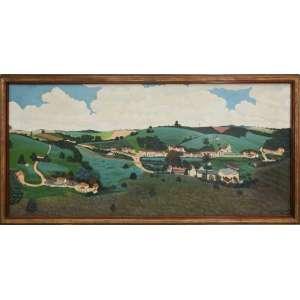Agostinho Batista de Freitas - Paisagem com Vilarejo, 1978, 69 x 149 cm, óleo sobre tela, dimensões da moldura 83 x 160 cm, assinado no canto inferior direito