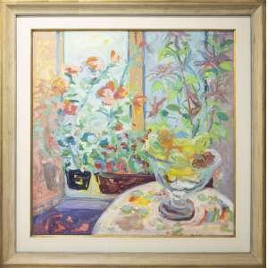Alberto Nicolau - Fruteira, óleo sobre tela, 100 x 98 cm, assinado e datado 1996 no canto inferior esquerdo
