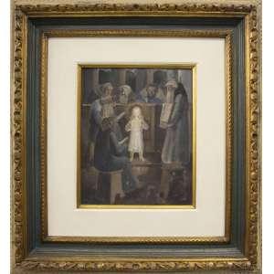 Fulvio Pennacchi - Jesus com os doutores da lei, óleo sobre cartão, 27 x 22 cm, 1947, a.d.c.i.e.