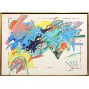 Luis Áquila - Das diversas caravelas avista-se a pintura, tinta acrílica sobre tela, 100 x 140 cm, assinado e datado 1994 no canto inferior direito e no verso