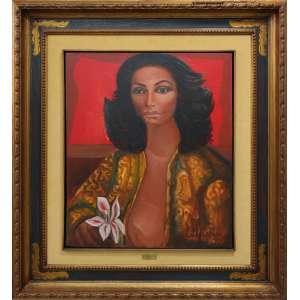Di Cavalcanti - Figura feminina, óleo sobre tela, 65 x 55 cm, assinado e datado 1970 no canto inferior direito.