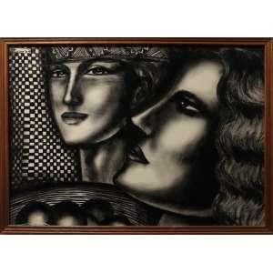 Farnese de Andrade - Figuras, óleo sobre cartão, 48 x 68 cm, 1977, assinado e datado no canto superior esquerdo