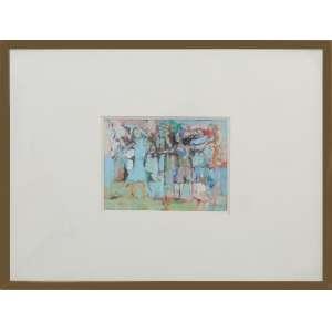Maria Leontina - Da série Os enigmas e os jogos, guache sobre papel, 32 x 25 cm, assinado no canto inferior esquerdo