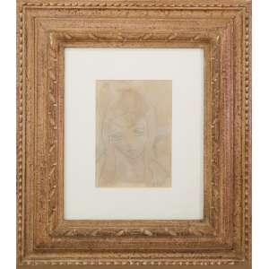 José Pancetti - Menina, desenho a lápis sobre papel, 21 x 15 cm, assinado no canto inferior direito.