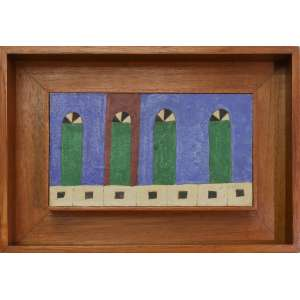 Alfredo Volpi - sem título, têmpera sobre papel, 13 x 23 cm, início da década de 1960, assinado no canto inferior direito. Reproduzido à pg. 230 do Catálogo Raisonée, sob número 0543. Reproduzido no livro de Sonia Salztein à pg. 196.