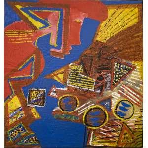 Artur Barrio - Um europeu na América ou um americano na Europa?, acrílica sobre tela, 110 x 100 cm, assinado e datado 1984 no verso