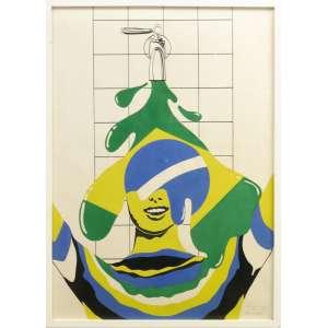 """Carlos Vergara, serigrafia única sobre cartão, 1968, 100 x 70 cm. Assinado com a observação: """"Prova única"""". Origem: Giuseppe Baccaro<br /><br />A exposição Opinião 65, no Museu de Arte Moderna do Rio, foi um dos mais notáveis eventos na arte brasileira. <br /><br />Organizada pelo marchand Jean Boghici, assim se apresentava: """"A jovem pintura pretendia ser independente, inventiva, denunciadora, crítica, social, moral. Ela se inspira tanto na natureza urbana imediata como na própria vida com seu culto diário de mitos"""". Foi ali que surgiram os artistas Antonio Dias, Gerchmann, Wanda Pimentel e Carlos Vergara, entre outros. <br /><br />Esta obra de Vergara foi criada três anos depois como uma ruptura e crítica, em plenos """"anos de chumbo"""": 1968! <br />A obra foi feita ao melhor estilo de Rauschenberg, Lichtenstein ou Andy Warhol, que, à mesma época, também não utilizavam pincéis, mas a técnica da serigrafia. Ressaltamos, que a exemplo dos artistas norte-americanos, esta obra constitui """"prova única"""", conforme a assinatura do artista. É uma obra original em si.<br /><br />comentários de Leonel Kaz<br />"""