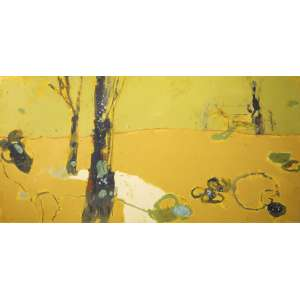 James Kudo - sem título, acrílica sobre tela, 136 x 281 cm, assinado e datado 2003 no verso.