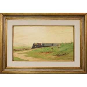 Benedito Calixto, O trem, óleo sobre madeira, 38 x 68 cm, assinado e datado 1924 no canto inferior direito.