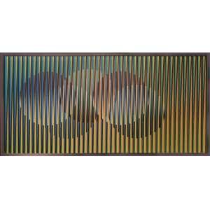Cruz Diez, Chromointerference, técnica mista - edição 1/3, 30 x 60 cm, 2003