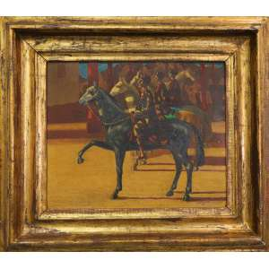 Cândido Portinari - Coluna Prestes, óleo sobre tela, 46 x 55 cm, 1950, Reproduzido no Catálogo Raisonée do artista à pg. 294 do volume III, sob nº 2864. OBRA EM OFERTA CONDICIONAL.<br /><br />*Reservamos para o final do leilão uma seleção de três obras muito especiais de Candido Portinari.<br />As obras pertenceram a um colecionador, amigo pessoal do artista, fazem parte de seu espólio e são objeto de inventário.<br />Por isso a oferta dessas obras é condicional.<br />O juiz do inventário já autorizou sua venda neste leilão, mas determinou que os herdeiros terão direito de preferência com as mesmas condições do lance final ofertado na sala.<br />Assim, o arremate terá que ser comunicado no processo e os herdeiros terão que exercer sua preferência em até 24 horas contadas da comunicação no processo. Caso a preferência não seja exercida nesse prazo de 24 horas, a arrematação se tornará definitiva independentemente de qualquer decisão adicional do juiz.<br />Em razão dessa particularidade, após o arremate, a confirmação da compra somente ocorrerá após os trâmites processuais, que devem demorar alguns dias.<br />Apesar deste pequeno detalhe burocrático, as obras são especiais.<br />Senhores façam seus lances e boa sorte.