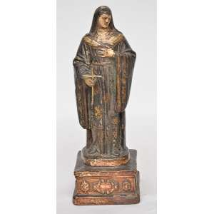 Nossa Senhora - Bela imagem portuguesa de coleção, do início do séc. XIX, em terracota policromada. Acompanha cruz em metal dourado. Alt. 25cm.