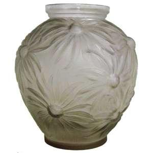 Etling - Belo vaso bojudo em cristal francês, satiné, trabalhado em flores. Assinado e localizado na base. Alt. 23 cm.