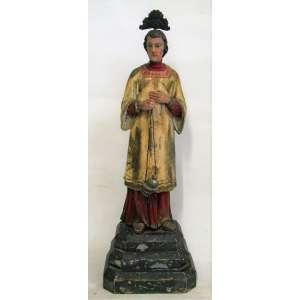 Santo Sacerdote - Imagem do Séc. XIX em madeira policromada. Alt. 42cm.