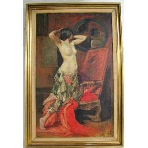 EMILE BAES (1879 - 1954) - NU - OST - 130X80cm. Escola Belga. Todos os quadros estrangeiros são vendidos como atribuídos.
