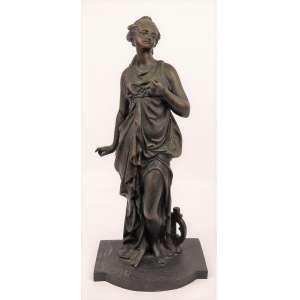 R. Abelle - Escultura em bronze, representando Jovem com harpa. Assinada. Alt. 35 cm.