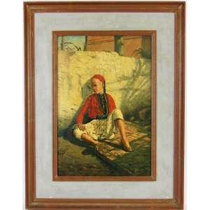 EMILIO SANCHEZ (1855-1907) - MENINO - OSM - 31X21cm. Escola Espanhola. Artista com cotação internacional e citado no Akoun, Adec, Hislop's, Benezit...