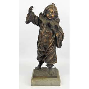 Henri Louis Levasseur (1853-1934) - Escultura francesa, art-deco, em bronze, representando, Menino Pierrot. Base em mármore. Assinada H. Levasseur. Alt. total 36 cm. Artista de cotação internacional e catalogado em diversos livros.