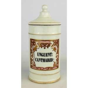 """Pote de farmácia, de coleção, em porcelana, rotulo com os dizeres """"UNGUENT:CANTHARID:"""" e com pintura de serpentes e arabescos. Alt. 25,5 cm."""