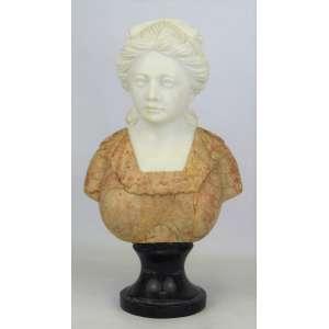 Escola Italiana - escultura em mármore em dois tons, representando Busto de dama. Base em mármore negro. Alt. total 29cm.