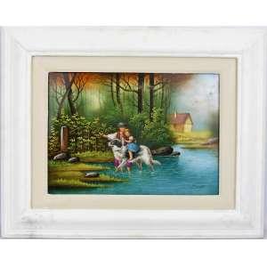 J. Baumy - Placa em porcelana européia com pintura de cena de campo com crianças e cão. Emoldurada. Med. placa 25x34cm.
