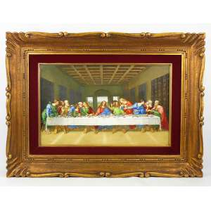 Richard Ginori - Bela placa italiana em porcelana, com pintura em policromia de Santa Ceia. Emoldurada. Assinada na lateral. Med. da placa 27x43,5cm.