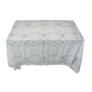 Toalha de mesa com 11 guardanapos com bordados. Med. 268x186. Marcas de uso.