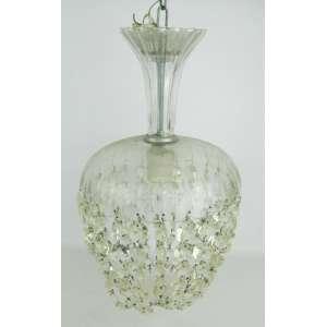 Luminária de teto para uma luz em cristal com contas. Alt. 40cm.
