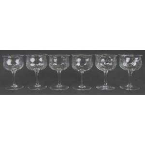 Seis taças em cristal translucido inglês, com marca da Cristallerie Webb e localizada England nas bases. Alt. 11,5 cm