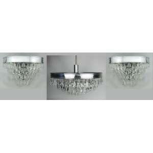 Lustre para 6 luzes e par de apliques para 2 luzes, em metal com pingentes em cristal bisotado. Lustre formado por 4 camadas. Alt. lustre 87cm e Med. 23x35,5x20cm.