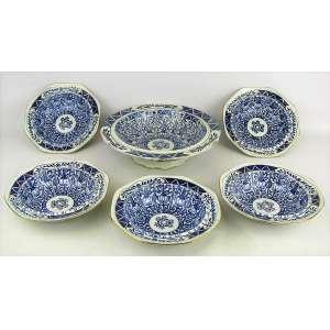 Saladeira com 5 bowlzinhos em faiança inglesa Wilton Lily, com decoração em azul. Med. saladeira 6x24 cm.