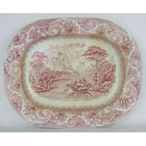 Travessa em faiança inglesa, decorado na cor rosa com paisagem ao centro e aba com flores, folhas e volutas. Med. 2,5x35x28 cm.