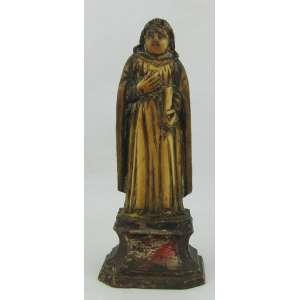 Imagem de coleção em marfim monobloco, do Séc. XVIII/XIX, possivelmente Indo Português, representando São João Evangelista. Base em madeira entalhada. Alt. total 11,5cm.