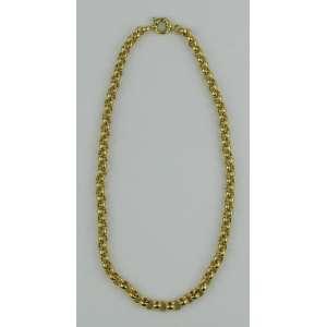 Cordão em ouro 18k, formado por grandes elos. Comprimento aberto 45,5 cm. Peso 33,1 g. Este item não se encontra no local do leilão.