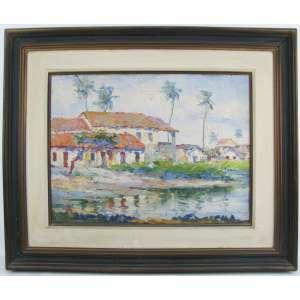 MARIO NUNES (1889-1982 – Olinda/PE) - PAISAGEM COM RIO - OST - 38X50. Artista nascido no Recife, sendo um dos fundadores da Escola de Belas Artes em Recife, tendo como mestre o pintos Telles Junior.