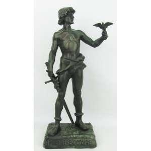 Marcel Debut (1865-1933) - Escultura em bronze francês, representando Premiere Victoire. Alt. 47 cm. Artista catalogado em diversos livros e de cotação internacional.