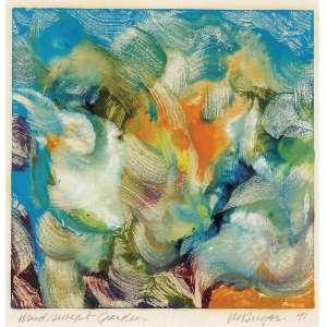 """Clarence Van Duzer<br>""""Wind Swept Garden"""" ASC <br>21,5 x 21,5 cm <br>8 ½"""" x 8 ½"""" 1991 ACID<br><br><i>A obra de Van Duzer se caracteriza pelo movimento de cores em pinceladas concêntricas de leveza inigualável, expressão moderna, livre e rica em detalhes e nuances, sempre com um tema principal claramente demonstrado em cada obra, gerando singularidade e densidade de expressão.<br>Van Duzer, falecido em 2009, deixou um acervo artístico importante. Em 1948 produziu o famoso ensaio do mural intitulado """"Mural Study for Cancer"""", hoje em exibição no Museu de Arte de Cleveland, Ohio. Por 33 anos lecionou no Cleveland Institute of Art, entre 1947 e 1989. Também o fez no Flint Institute of Art em Flint, Michigan e na Universidade de Denver, Colorado.</i>"""