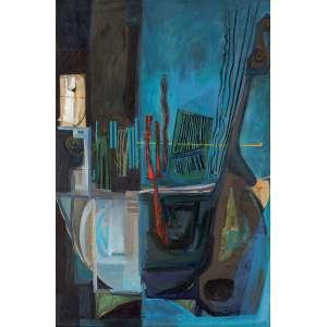 """Charles Micklosky<br>Musical Séries Blue Note OST <br>137 x 90 cm 54"""" x 35 ½""""<br>2012 ACID<br><br><i>Micklosky estudou artes plásticas na Universidade de Pensilvânia. Fez cursos na Itália, em Florença e se especializou em afrescos. Sua técnica em óleo sobre tela é muito apurada, misturando suas próprias tintas para obter a variação cromática única que seus quadros possuem. Blue Note faz parte de uma serie intitulada """"notas musicais e a bossa nova"""", na qual se inspira no movimento musical que marcou o Brasil. Blue Note traz a harmonia e o tempo musical em tela. A linha vermelha flutuante representa a nota do samba dos desafinados, em total afinação com esta composição emocionante.</i>"""