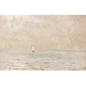 GIOVANNI BATTISTA CASTAGNETO<br>Marinha com barco OSM <br>Tampa de caixa de charutos <br>16 x 23 1891 ACID