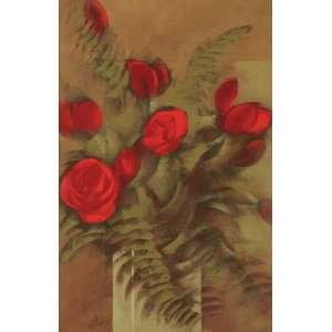 CARLOS SCLIAR<br>Rosas Vermelhas e Samambaias <br>VCEST 56 x 37 1980 ACIE