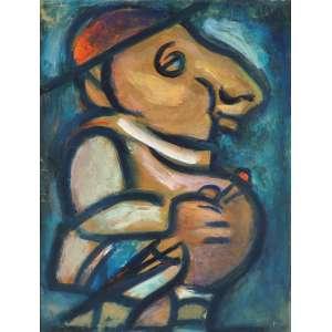 """Georges Rouault - """"Pere Ubu em Tenue de Dimanche"""" - Guache ACSD 1915 33,5 x 26 - Obra de grande importância na carreira do artista, por ser este um dos trabalhos da série do """"Teatro do absurdo"""", que antecipa o movimento Dadaísta - Reproduzido à pág. 6 do livro: - Great Modern Masters – Ed. Cameo/Abrams - Proveniências: - Isabelle Rouault -Berman Swarttz - (Produtor de cinema americano que foi - casado com a mineira Minga Swarttz)"""