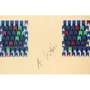 Alfredo Volpi - Bandeirinhas Painel de Madeira - medindo 116 x 160, com duas Pinturas a têmpera - medindo cada 65 x 50 - Déc. 1970 (Circa de 1973) - Ass. ao Centro e no Verso do Suporte do Painel -  - Ex. coleção Lygia Jafet - SP